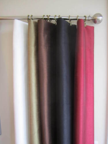 Faux Silk Window Curtain Panels W/ Lining, NEW, 2 Panels Per Set in Home & Garden, Window Treatments & Hardware, Curtains, Drapes & Valances | eBay
