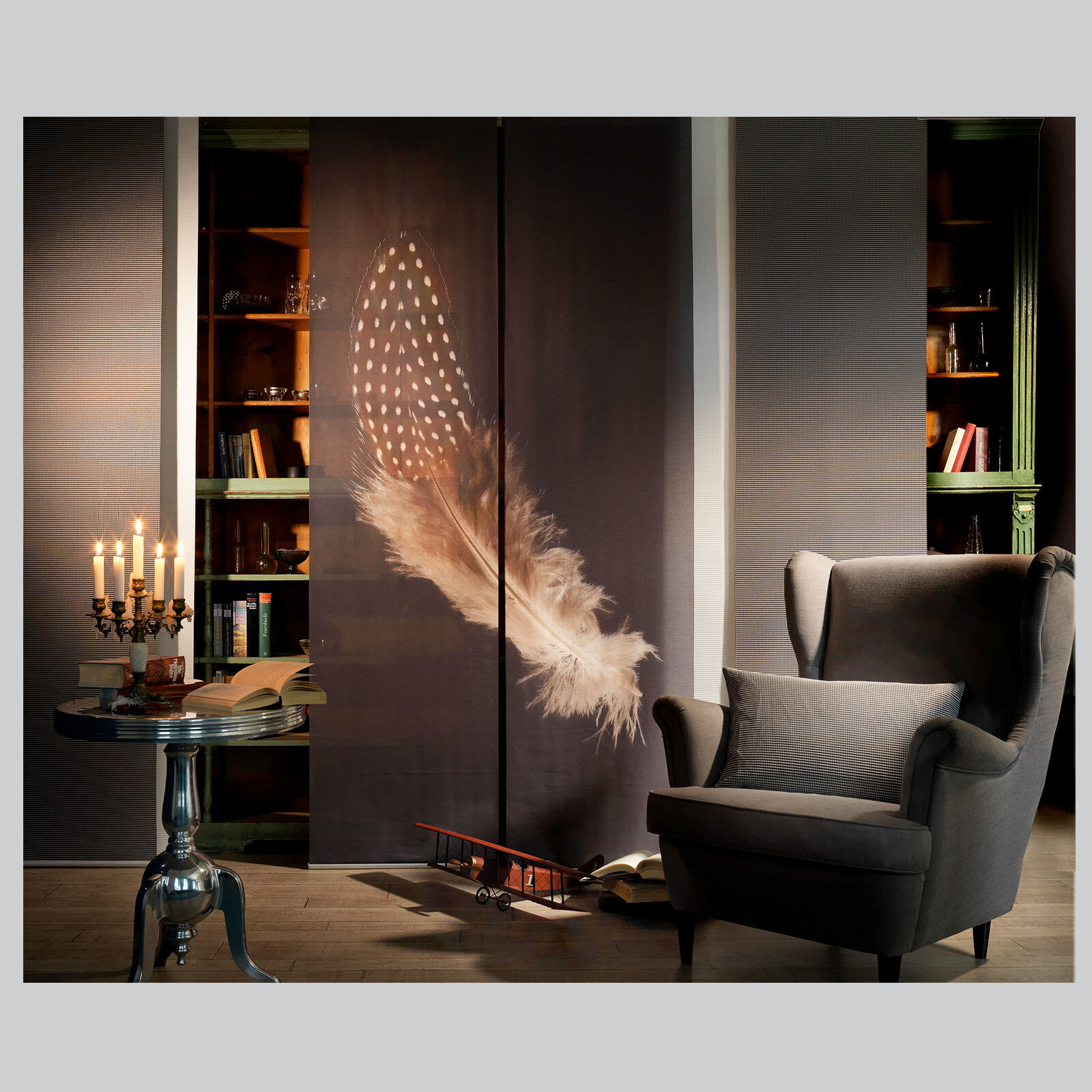 Feder foto schiebevorhang raumteiler paneele for Raumteiler schiebevorhang