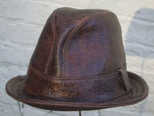 Fedora-Snatch-hat-cracked-brown-leather-handmade-bespoke-S-M-L-XL-XXL