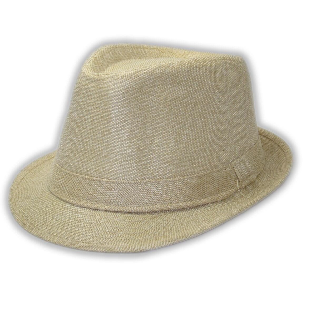 fedora summer trilby hat straw brim cap in beige