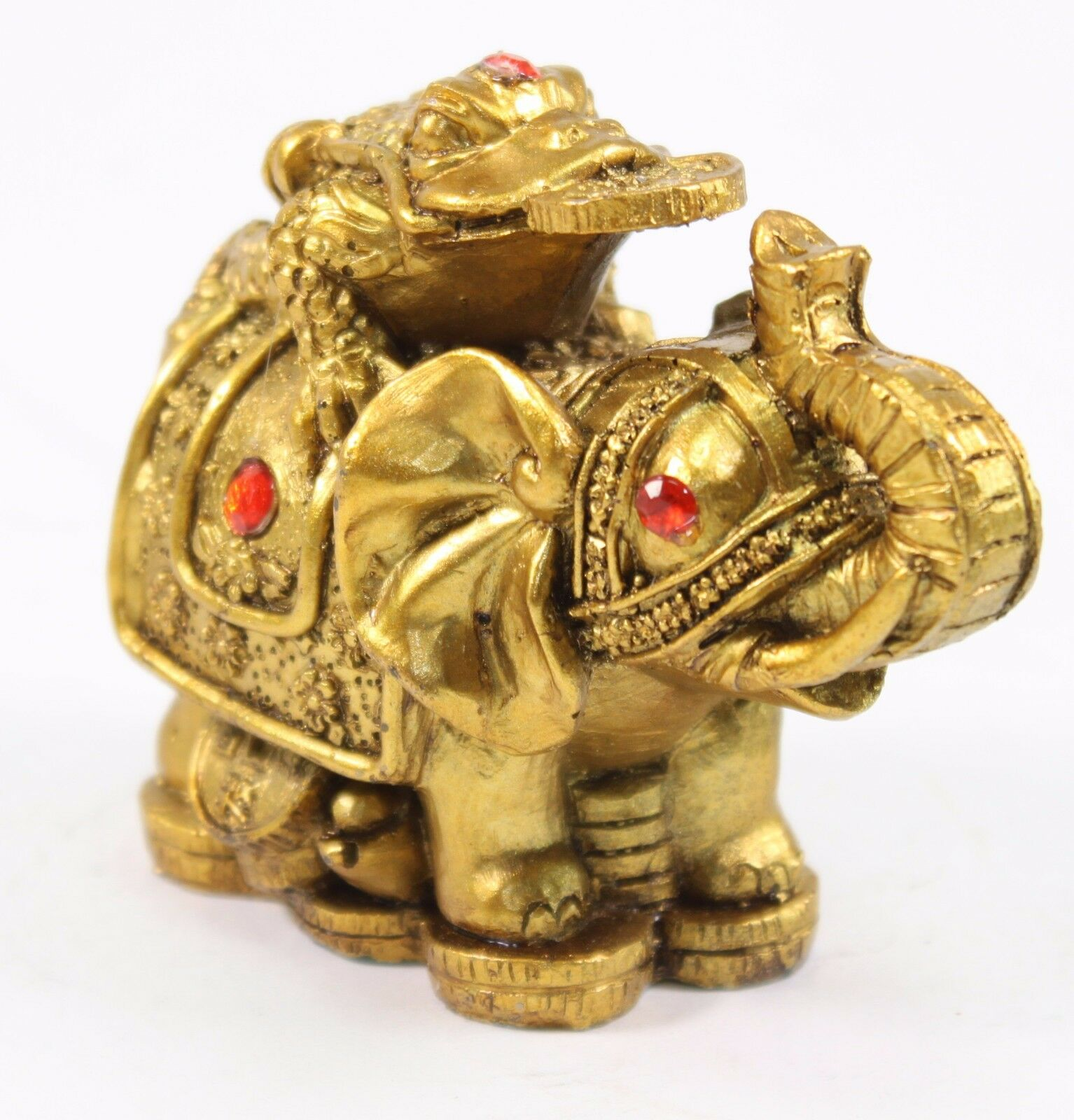 feng shui 3 money frog on elephant figurine wealth figurine gift home decor ebay. Black Bedroom Furniture Sets. Home Design Ideas