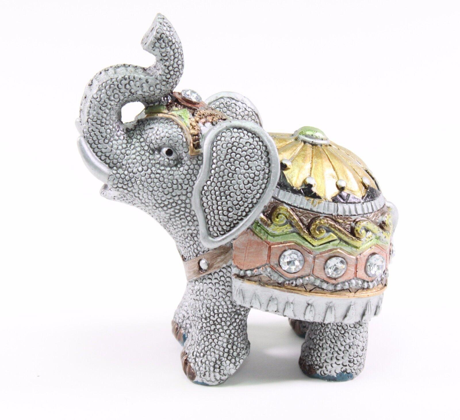 "Feng Shui 4.5"" Gray Elephant Trunk Statue Lucky Figurine"