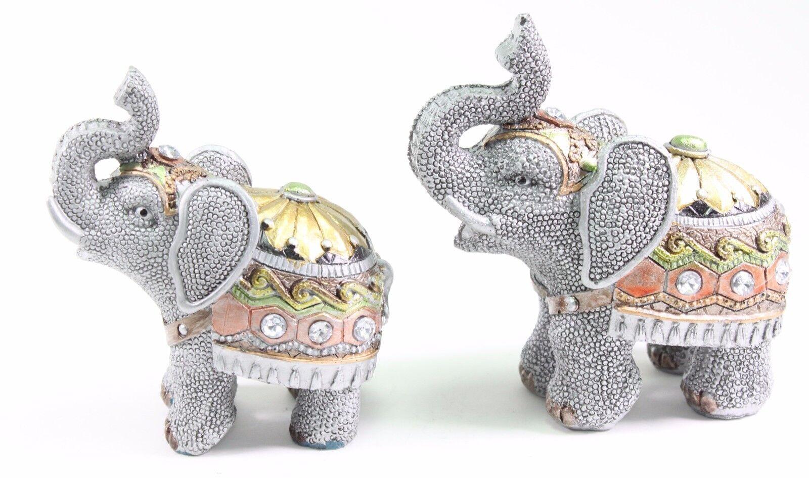 Set of 2 Feng Shui Gray Elephants Trunk Statue Lucky Figurine Gift ...