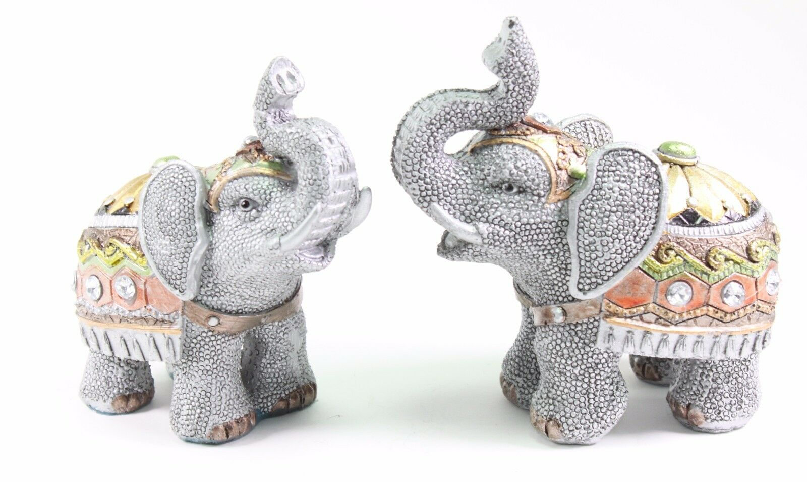 Set Of 2 Feng Shui Gray Elephants Trunk Statue Lucky