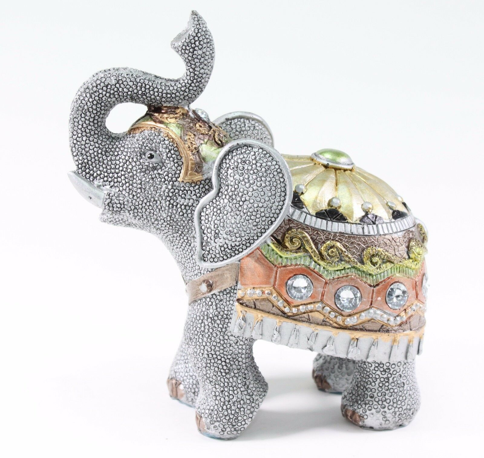 "Elephant Home Decor: Feng Shui 6.5"" Gray Elephant Trunk Statue Lucky Figurine"