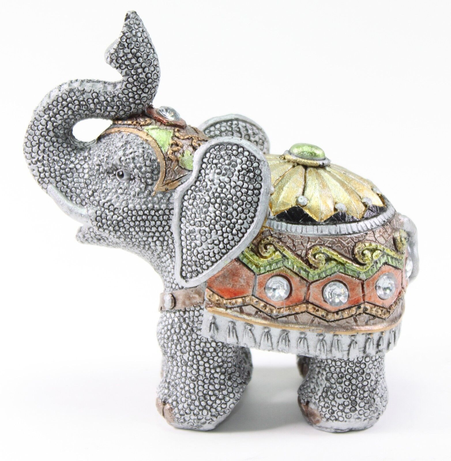 "Elephant Home Decor: Feng Shui 5"" Gray Elephant Trunk Statue Lucky Figurine"