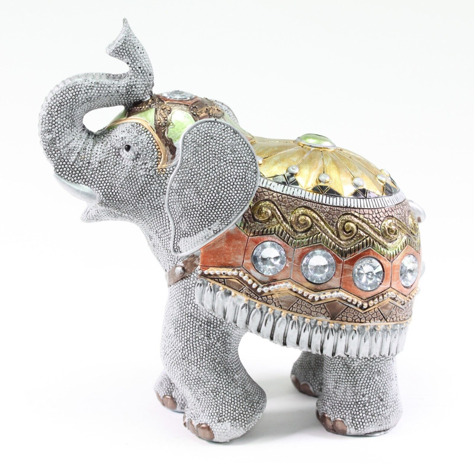 "Elephant Home Decor: Feng Shui 7.5"" Gray Elephant Trunk Statue Lucky Figurine"