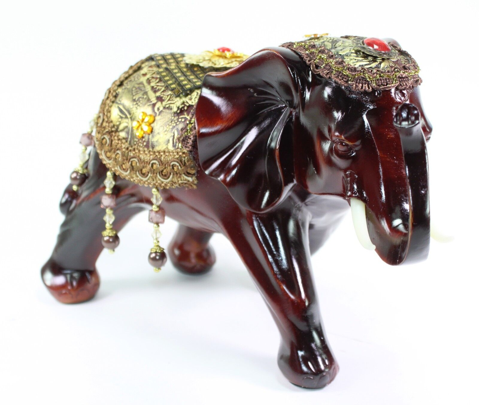 Feng Shui 7 5 Red Gold Elephant Trunk Statue Lucky Figurine Gift And Home Decor