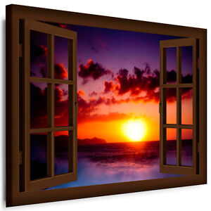 fensterblick bild auf leinwand n06 natur bilder kunstdrucke k poster fototapete ebay. Black Bedroom Furniture Sets. Home Design Ideas