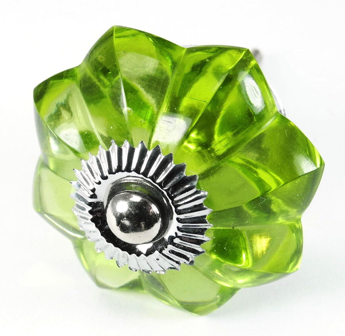 Fern Green Glass Cabinet Knobs Sm Melon Drawer Pulls Kitchen Handles #