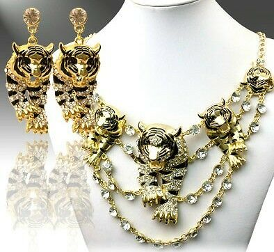 Ferocious BOLD TIGER CRYSTAL BIB Gold Tone Rhinestone Necklace Earrings Set in Jewelry & Watches, Fashion Jewelry, Necklaces & Pendants | eBay