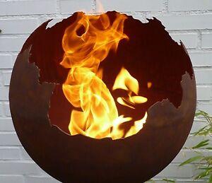 Feuerkugel feuerschale feuer kugel metall rost optik for Kugel rost garten