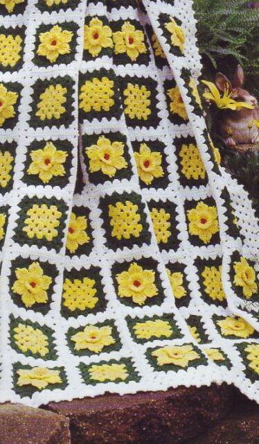 589b2cc05 Crochet Pattern Fields Of Daffodils Spring Afghan Throw Blanket ...