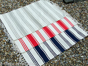 Fine Cotton Nautical Theme Striped Rugs Red White Beige