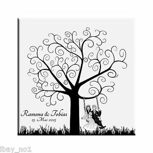 Fingerabdruck hochzeitsbaum leinwand weddingtree hochzeit spiel 50x50cm motiv 39 ebay - Hochzeitsbaum leinwand ...