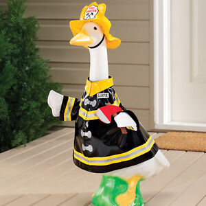 Firefighter GOOSE w Fire Hat Jacket Indoor Protected Outdoor Decor ...