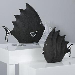 fisch schwarz silber 26 cm poly badezimmer dekoration ebay. Black Bedroom Furniture Sets. Home Design Ideas