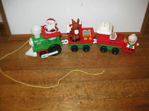 ... People Musical Christmas Train Set Santa Mrs Claus Reindeer | eBay