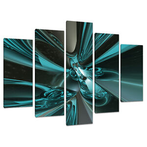 five picture teal abstract canvas art wall prints set blue. Black Bedroom Furniture Sets. Home Design Ideas