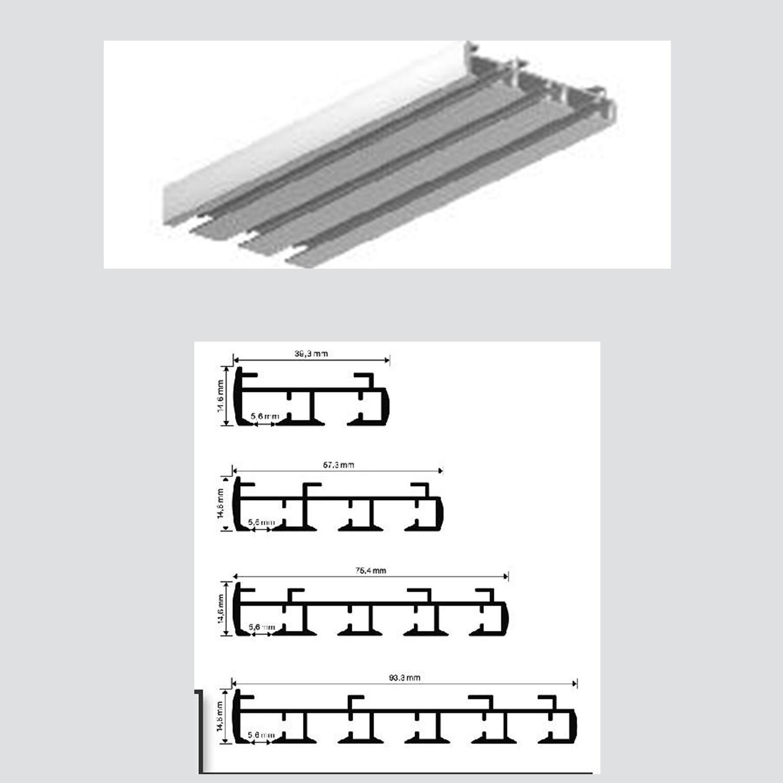 fl chenvorhangschiene 3 lfg schiene paneelschiene gardinenschiene ebay. Black Bedroom Furniture Sets. Home Design Ideas
