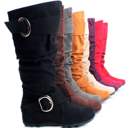 Flat Slouch Tall Buckle Faux Suede Ladies Cowboy Western Womens Knee High Boots