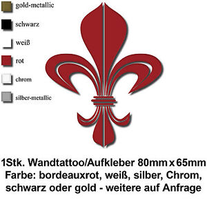 fleur de lis lilie schwarz wei gold silber chrom rot folie wandtattoo aufkleber ebay. Black Bedroom Furniture Sets. Home Design Ideas