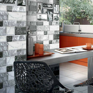fliesen wandfliesen muster grani gray light 25x35cm grau marmor mosaik retrowand ebay. Black Bedroom Furniture Sets. Home Design Ideas
