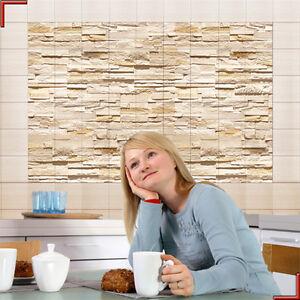 fliesenposter steinwand ashlar kachel dekor bad poster stein fliesenbild ebay. Black Bedroom Furniture Sets. Home Design Ideas