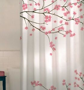 Cherry blossom pink brown white quality fabric shower curtain new