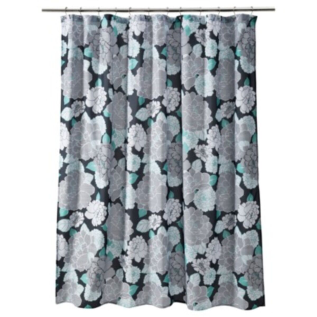 Floral Stripe Turquoise Black Grey White Quality Fabric Shower Curtain