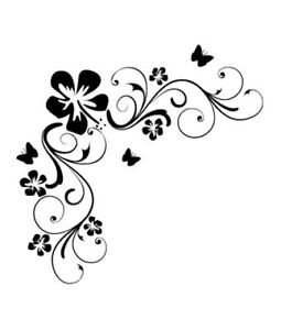 Flowers wall stickers vinyl art decals floral quote ebay for Stickers decorativos de pared
