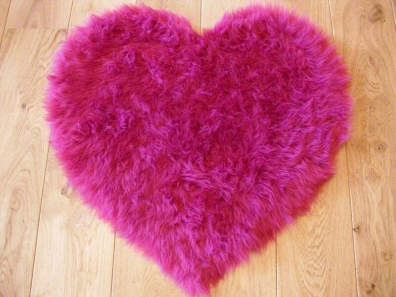 fluffy pink kids bedroom rugs washable mat girls heart