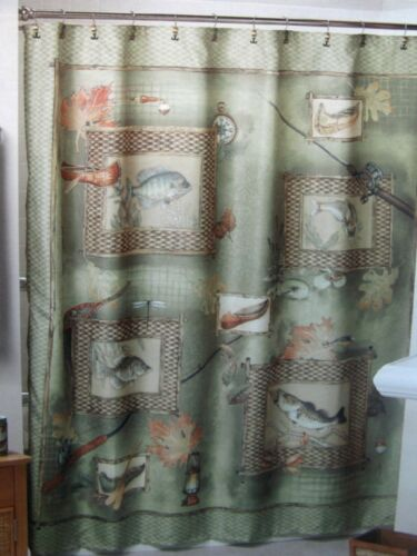 Fly FISHING Green Fabric SHOWER CURTAIN & HOOKS Bath set Lures Canoe Camp NEW in Home & Garden, Bath, Shower Curtains | eBay