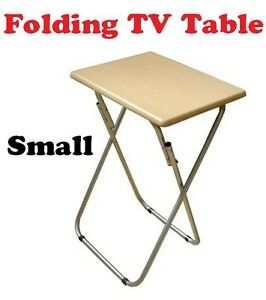 Folding Foldable Occasional Tv Table Tea Coffee Bed Side With Metal Legs Small Ebay