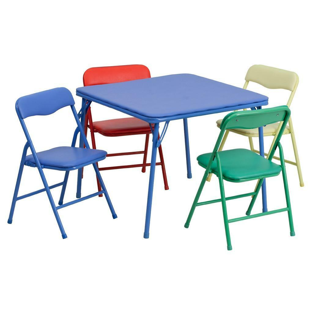 Folding Multi Purpose Card Table and Chairs Set for Kids Blue Portable Activity