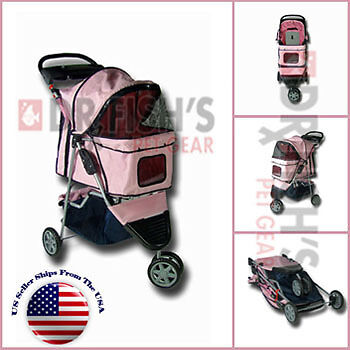 Folding Pink Pet Dog Cat Stroller Carrier 3 Wheel