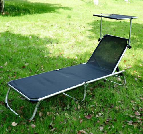 Outsunny Adjustable Reclining Beach Sun Lounge Chair w/ Shade Canopy - Black at Sears.com
