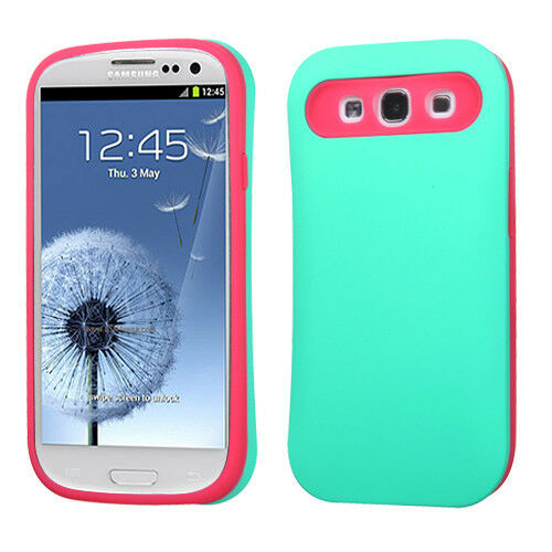 For Samsung Galaxy S III 3 TPU Candy HYBRID GLOW Case Phone Cover Green Hot Pink