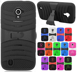 For ZTE Majesty 796C Hard Gel Rubber Kickstand Case Phone Cover