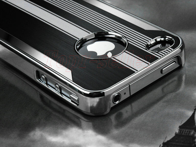 For iPhone 4 4S Black Aluminum Steel Hard Cover Case w/ Screen Protector + Pen