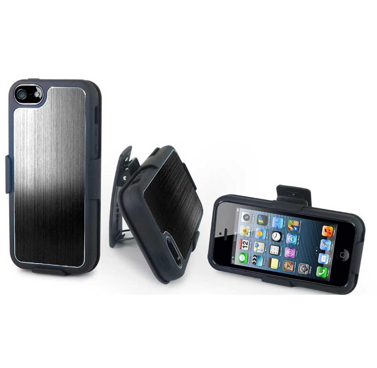 For iPhone 5 Brushed Full Black Aluminum Holster Belt Clip Stand Case