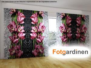 fotogardinen blumen vorhang mit motiv 3d fotodruck. Black Bedroom Furniture Sets. Home Design Ideas