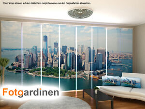 fotogardinen new york fl chenvorhang schiebegardinen mit motiv auf ma ebay. Black Bedroom Furniture Sets. Home Design Ideas