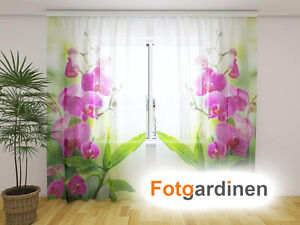 fotogardinen aus chiffon orchidee vorhang mit motiv. Black Bedroom Furniture Sets. Home Design Ideas