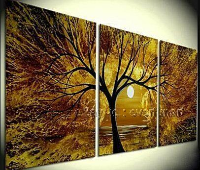 Framed! Handmade Modern Abstract Landscape Moonlight Oil Painting On Canvas Tree in Antiques, Furniture, Other | eBay