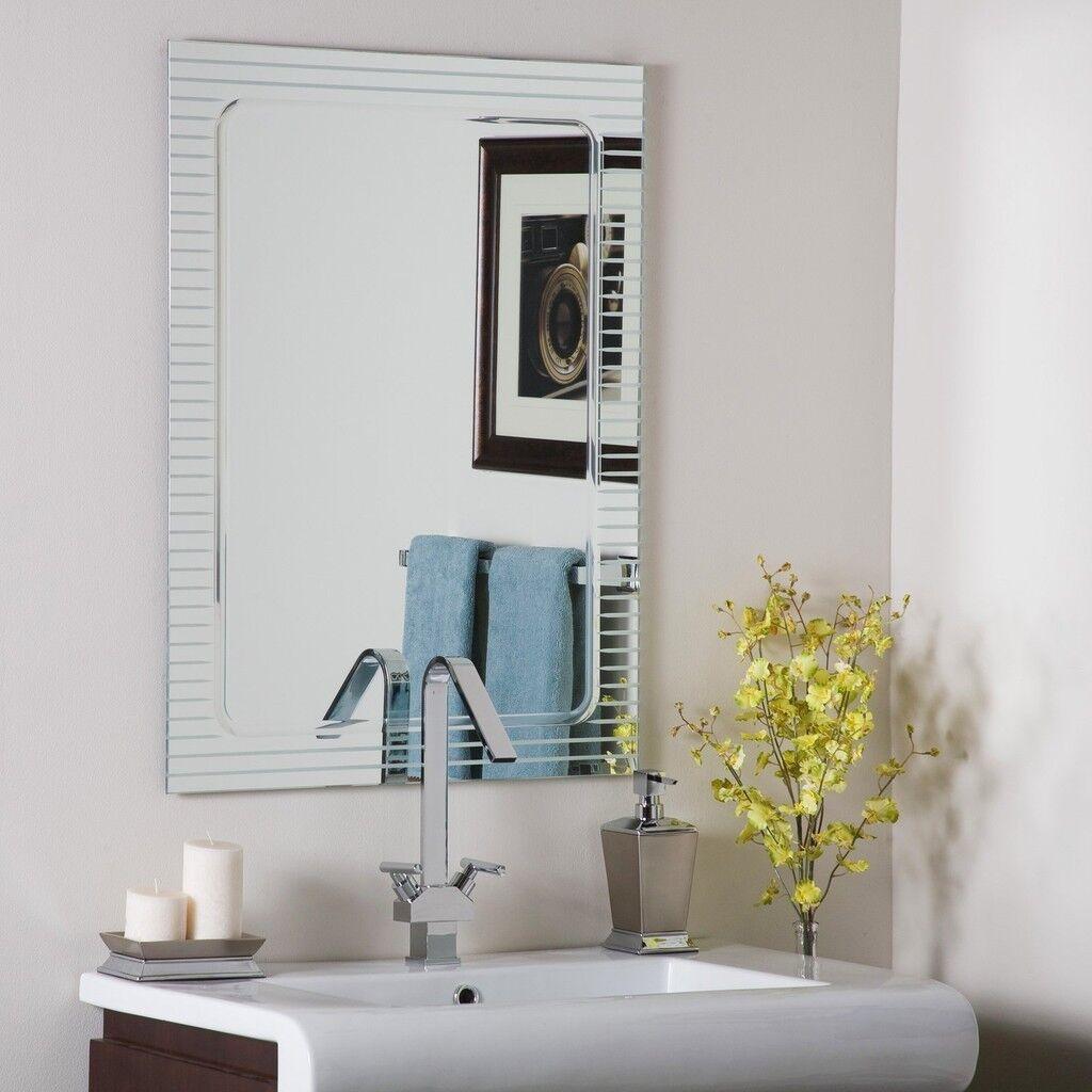 Frameless Baroom Wall Mirror Hall Designer V Groove