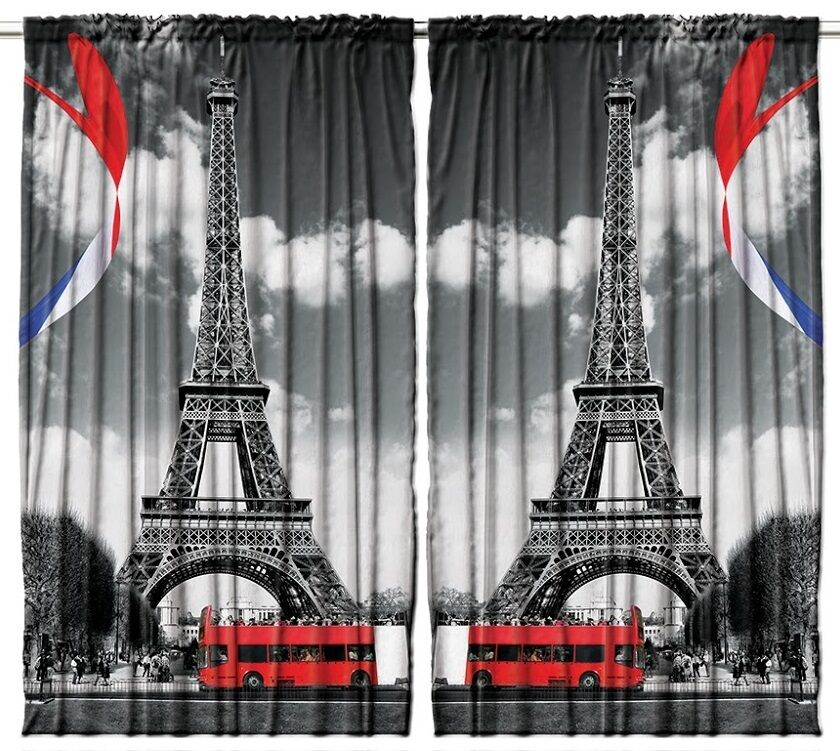 Eiffel Tower Curtain Panel Set France Flag Black White