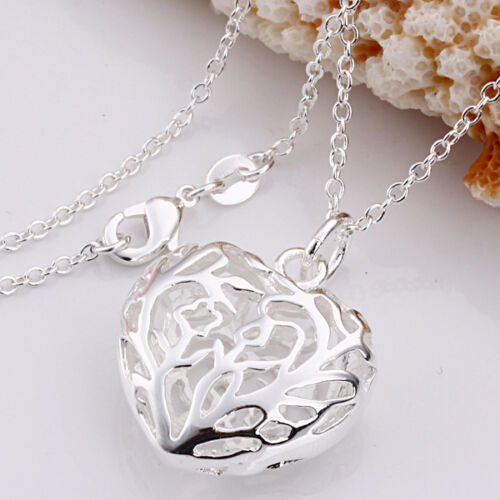 Free P&P Wholesale hollow heart pendant Silver Plated Chain necklace+Gift box in Jewelry & Watches, Fashion Jewelry, Necklaces & Pendants | eBay