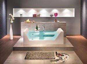ottofond freistehende glas badewanne pure 181 x 81 x 43 mit ablauf klick klack ebay. Black Bedroom Furniture Sets. Home Design Ideas