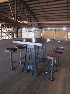 High End Furniture French Industrial Bar Table Restaurant Pub Vintage Bolt Down Stools